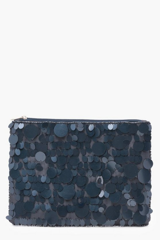 Ella Mixed Sequin Ziptop Clutch