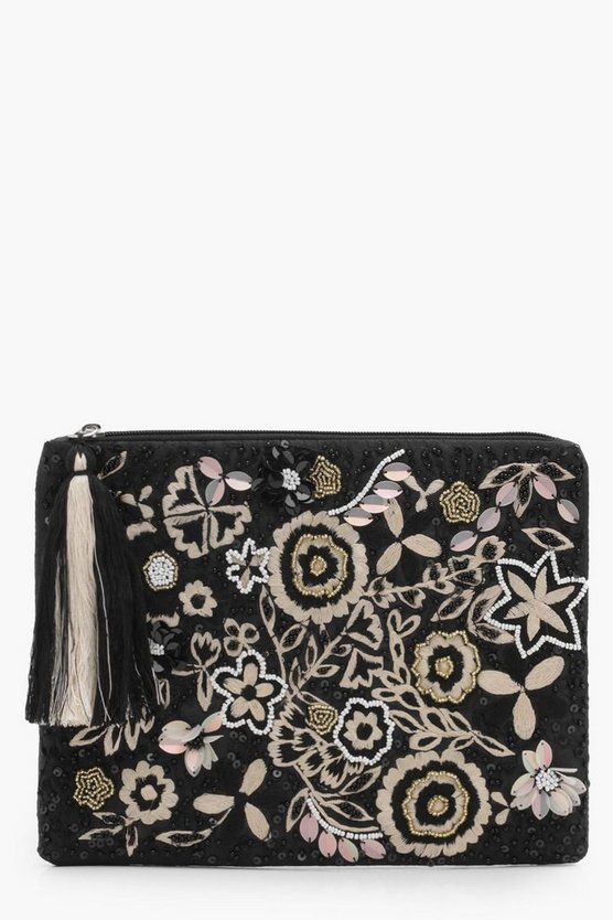 Ava Mono Embroidery And Bead Clutch