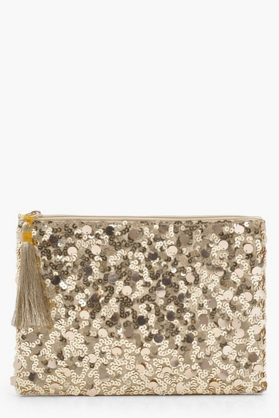 Ella Mixed Sequins Ziptop Clutch