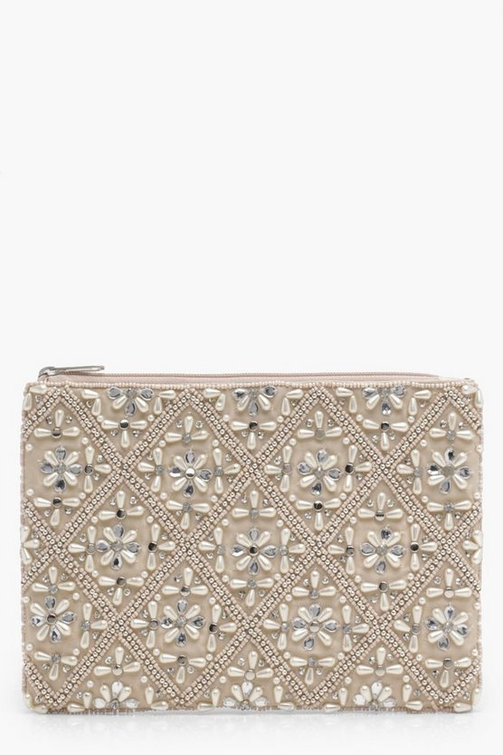 Ivy Faux Pearl And Diamante Embellished Clutch Bag