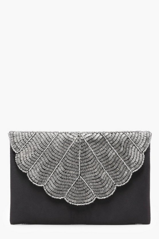 Hannah Scallop Edge Beaded Clutch