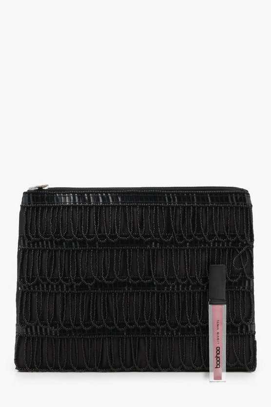 Amy Beaded Tassel Ziptop Clutch