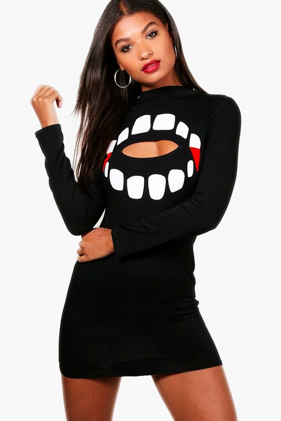 Halloween Iva Teeth Cut Out Bodycon Dress