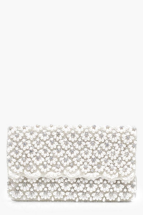 Mia Pearl And Diamante Foldover Clutch