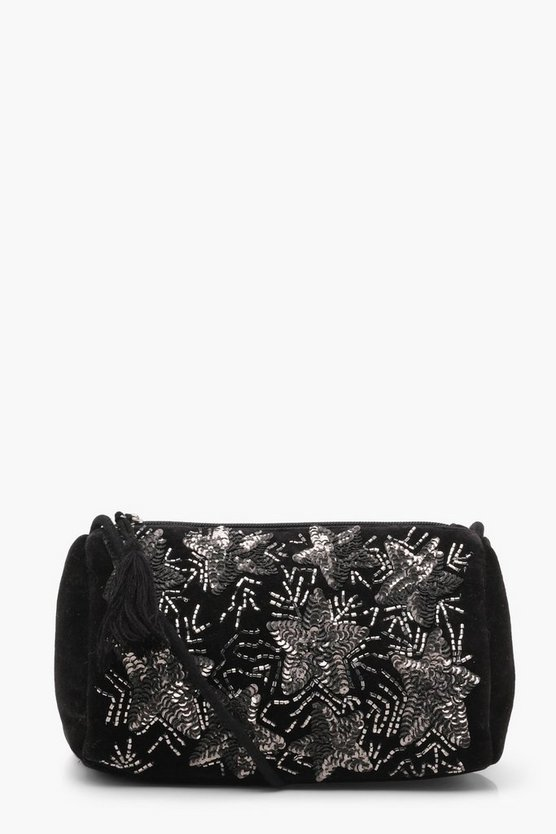 Star Embellished Velvet Cross Body Bag