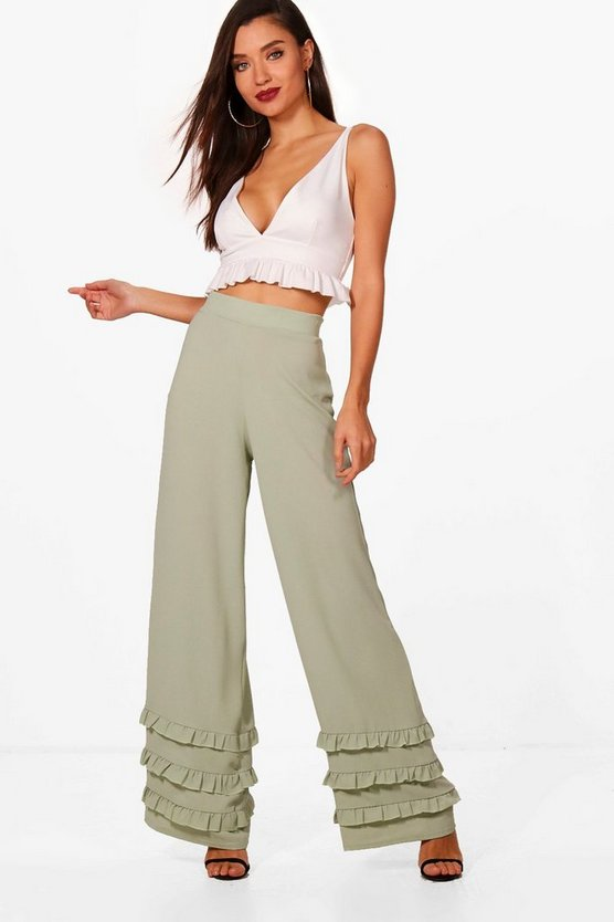 Alice Woven Frill Hem Detail Wide Leg Trouser