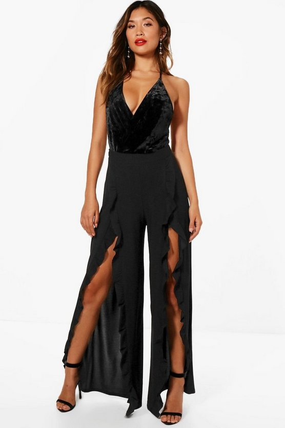 Sophie Split And Ruffle Detail Wide Leg Trouser