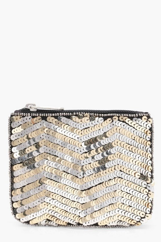 Ella Zig Zag Sequin Zip Top Purse