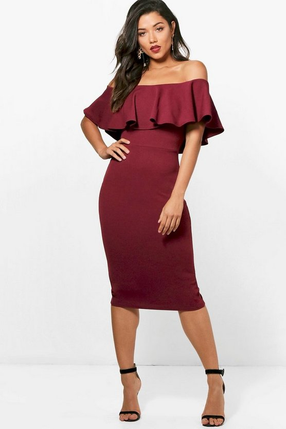 Tanya Crepe Off the Shoulder Frill Midi Dress