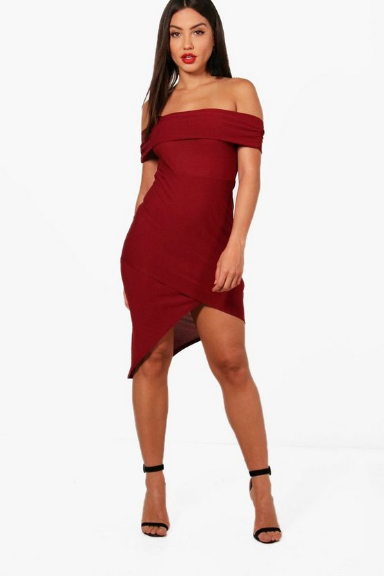 Alaina Off the Shoulder Wrap Midi Dress