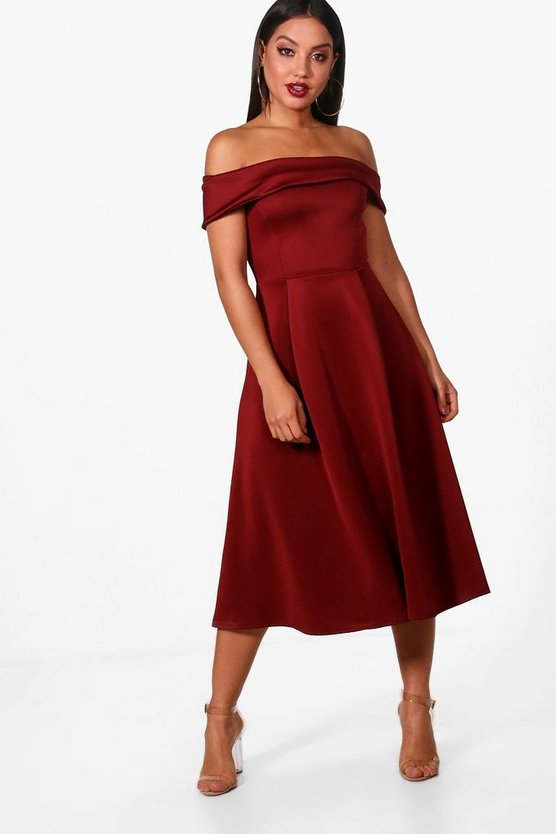 Claire Off the Shoulder Midi Skater Dress