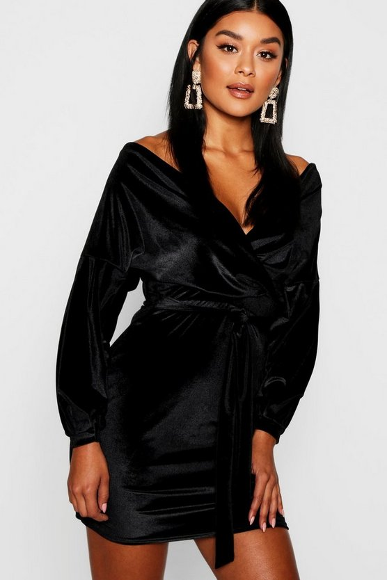Natasha Velvet Off the Shoulder Midi Dress