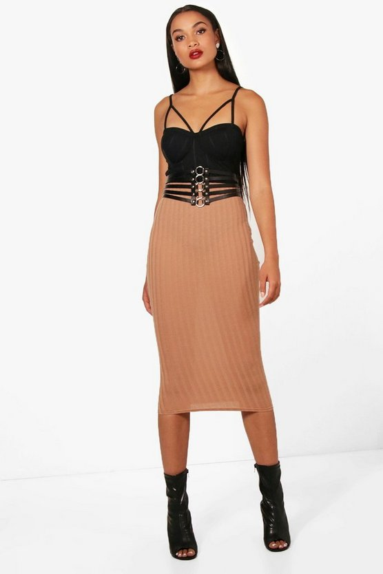 Poppy Knitted Rib Long Line Midi Skirt