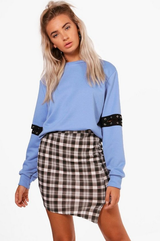 Esme Wrap Front Checked Mini Skirt