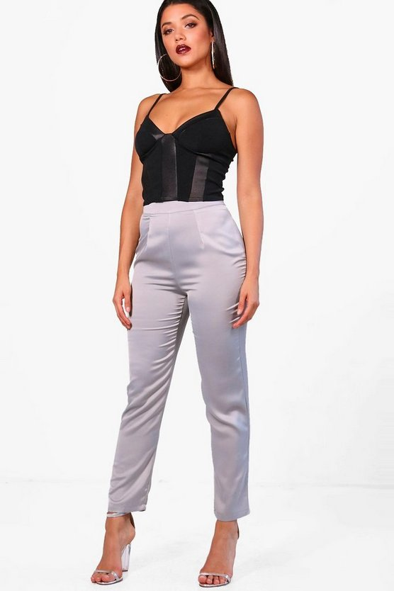 Megan Ripple Satin Slim Fit Tailored Trousers