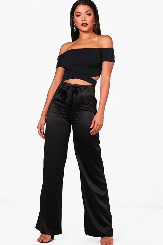 Tie Waist Wide Leg Satin Trousers