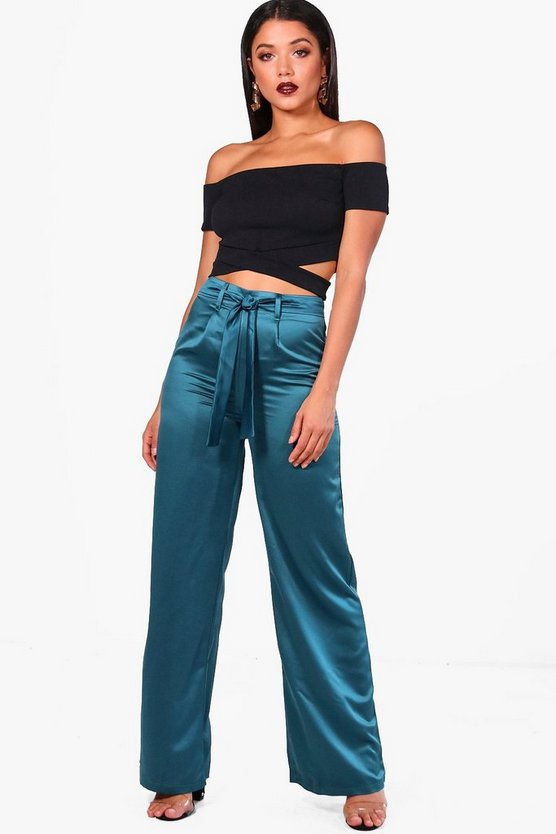 Harriet Tie Waist Wide Leg Satin Trousers
