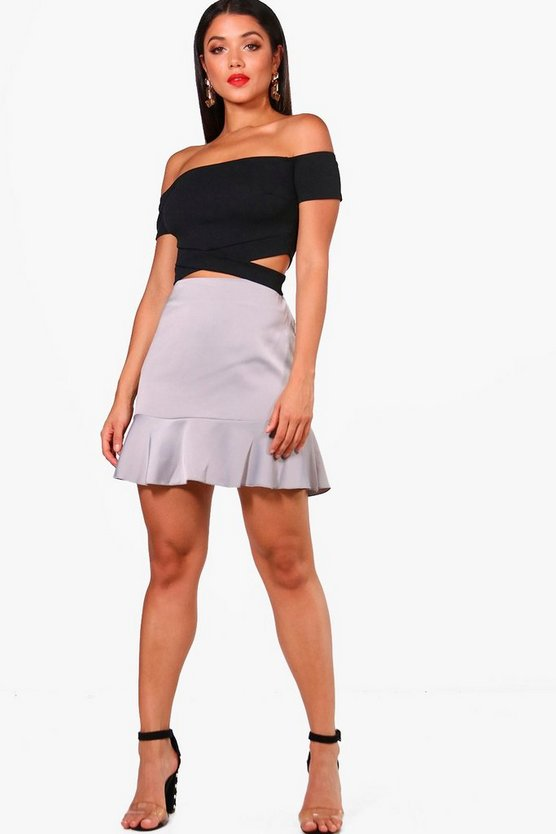 Freya Ripple Satin Drop Hem Mini Skirt