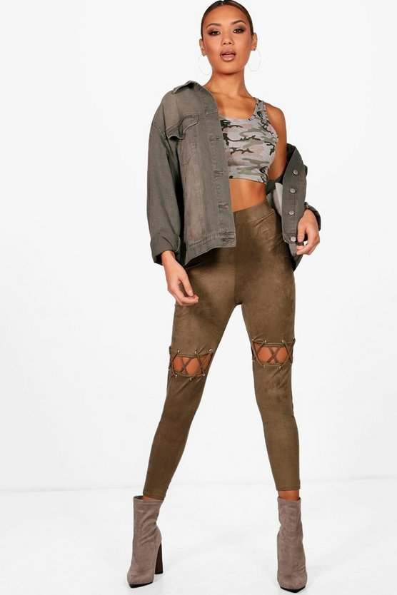 Claire Lace Up Eyelet Detail Suedette Leggings