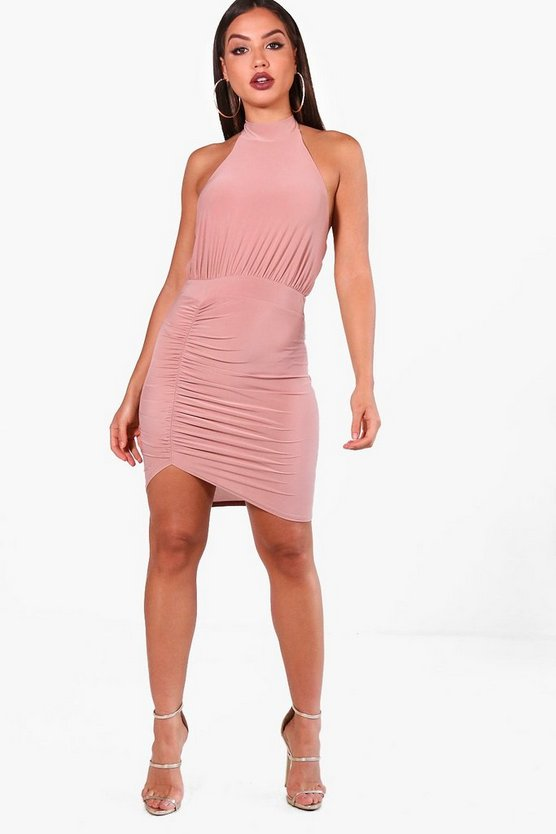 Slinky High Neck Bodycon Dress