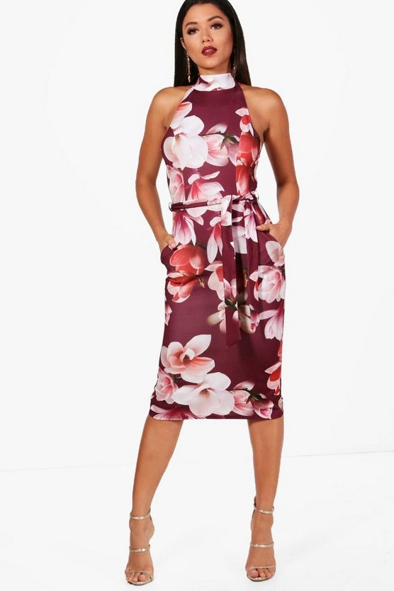 Josey High Neck Tie Waist Floral Midi Dress
