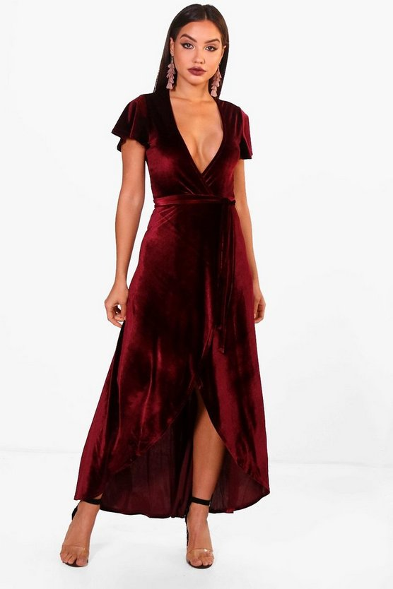 Bec Angel Sleeve Dip Skirt Velvet Maxi Dress