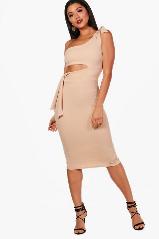 One Shoulder Tie Detail Midi Dress