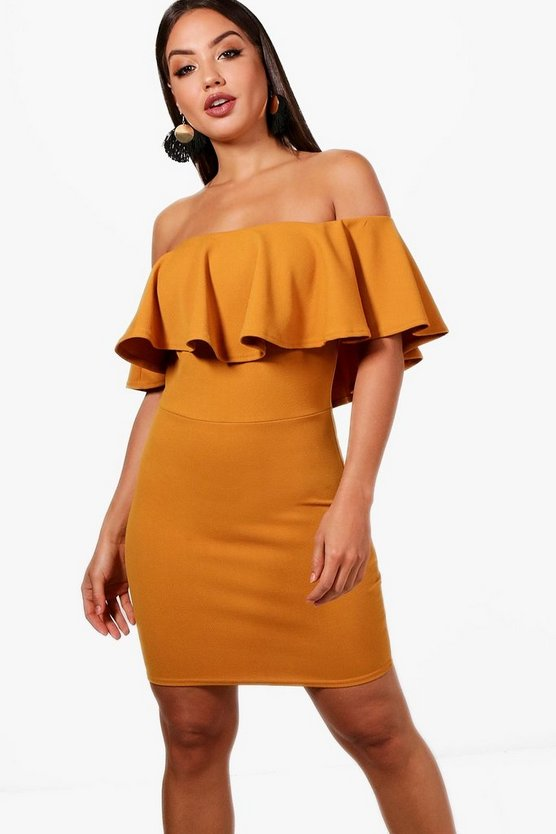Alena Crepe Off the Shoulder Bodycon Dress