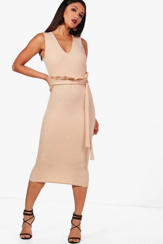 Polly Sleeveless Paperbag Waist Midi Dress