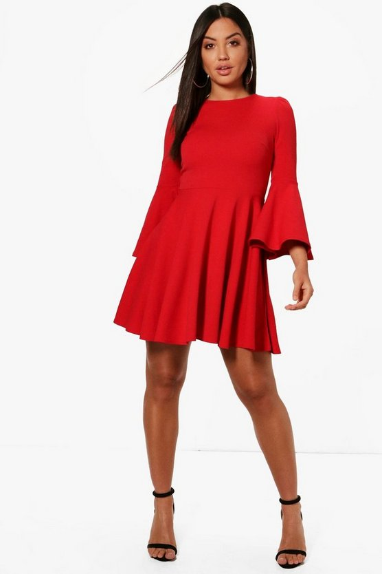 Flared Sleeve Skater Dress