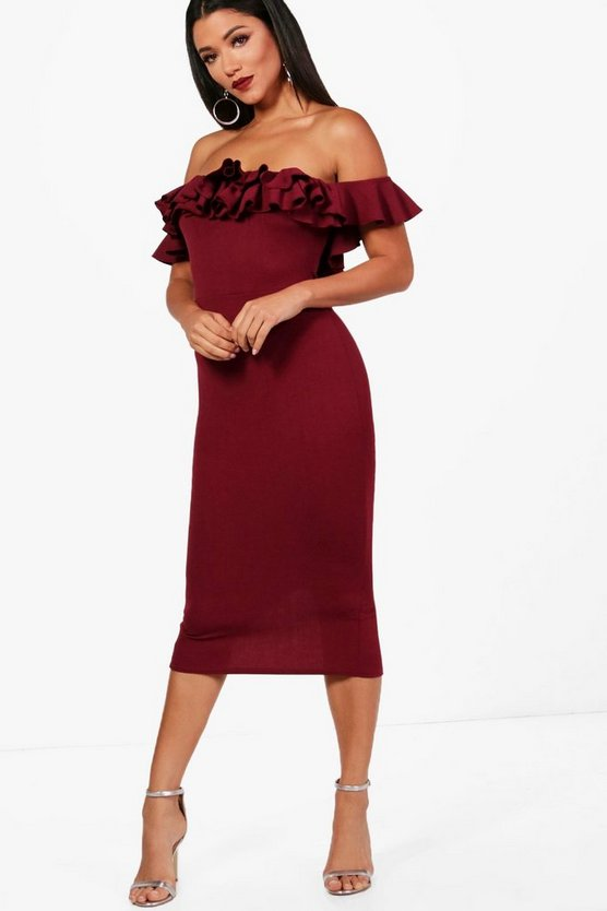 Ruffle Off the Shoulder Midi Dress