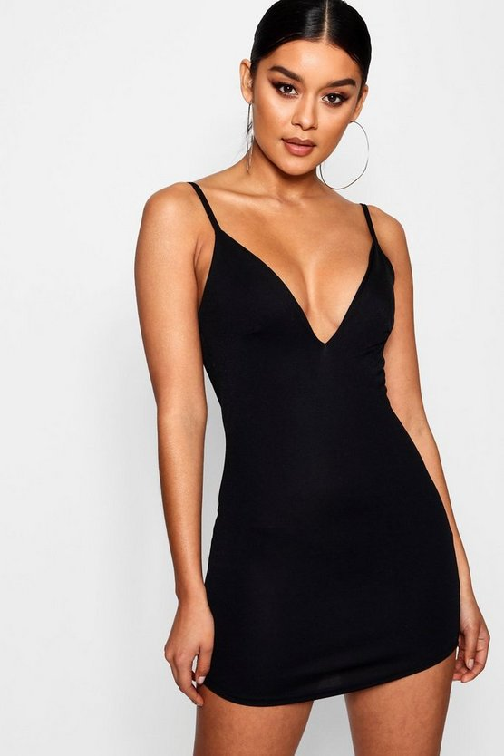 Strappy Curved Hem Bodycon Dress