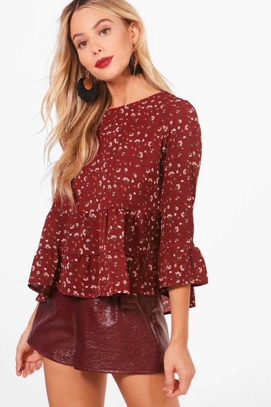 Milly Ditsy Floral Ruffle Hem Woven Top