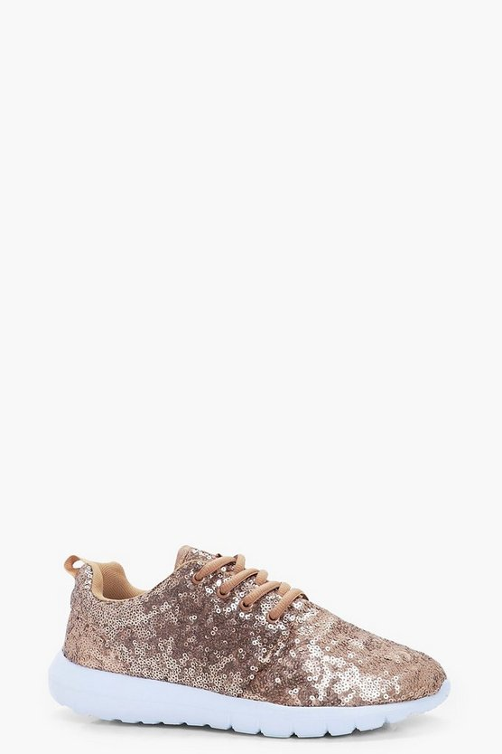 Alice Sequin Lace Up Trainers