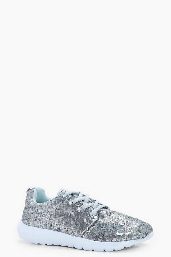 Alice Sequin Lace Up Trainer