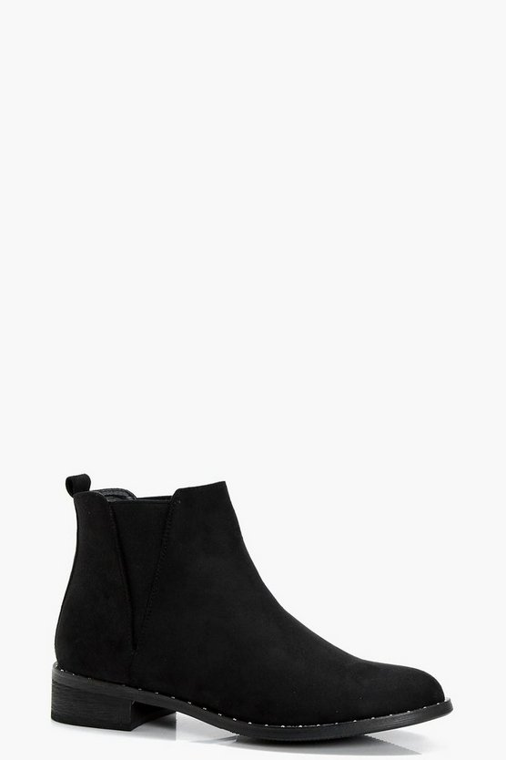 Ellie Stud Mixed Panel Chelsea Boots