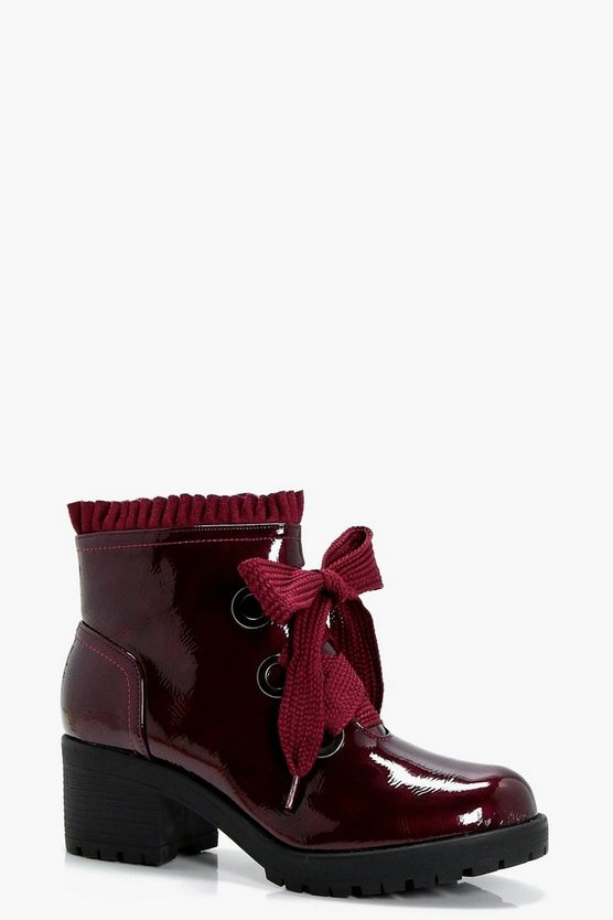 Frill Lace Front Chunky Chelsea Boots