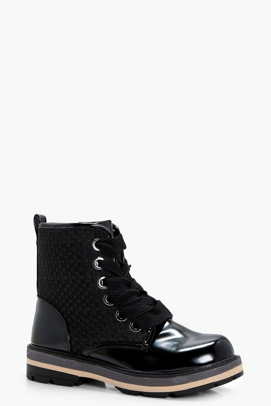 Phoebe Woven Panel Chunky Hiker Boots