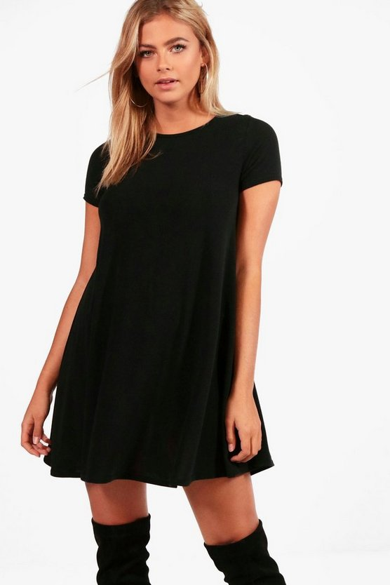 Fine Knit Short Sleeve Swing Dress