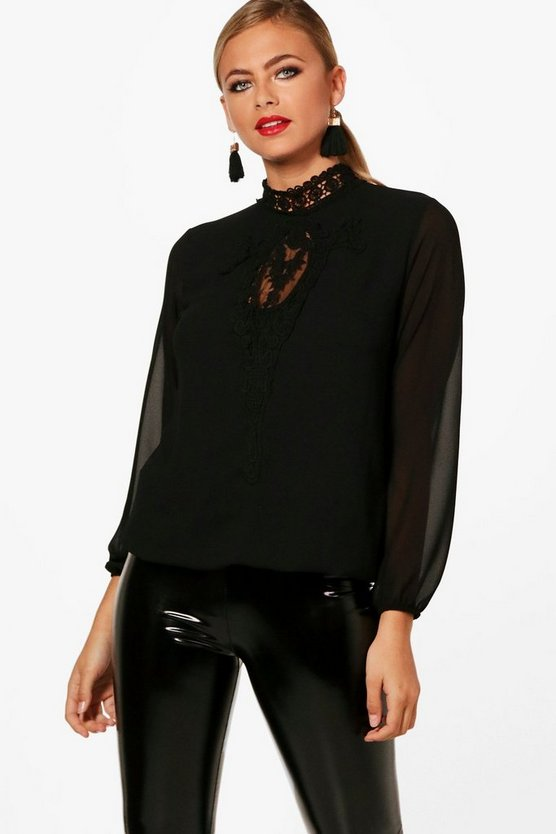 Abbie Lace Panel Choker Blouse