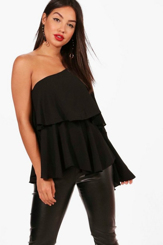 Maisy One Shoulder Frill Woven Top