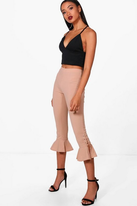 Ivy Lace Up & Frill Hem Trousers
