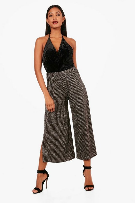 Fifi Metallic Rib Split Side Culottes