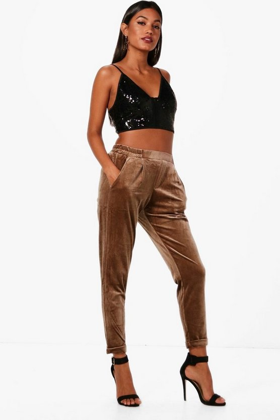 Colette Velvet Turn Cuff Relaxed Trouser