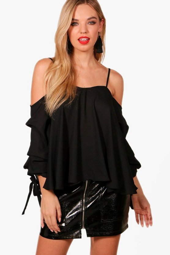 Cold Shoulder Ruched Sleeve Top