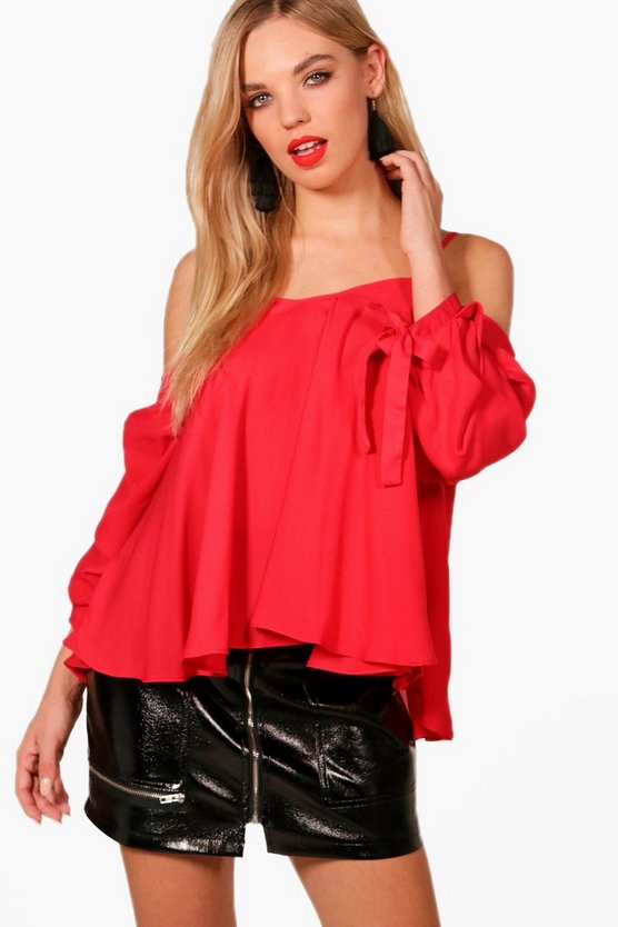 Paige Cold Shoulder Ruched Sleeve Top