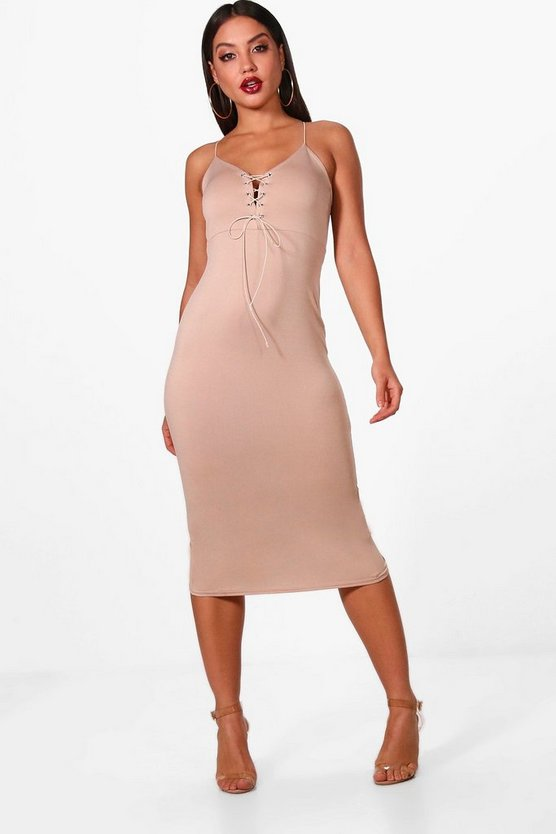 Lace Up Plunge Eyelet Midi Dress