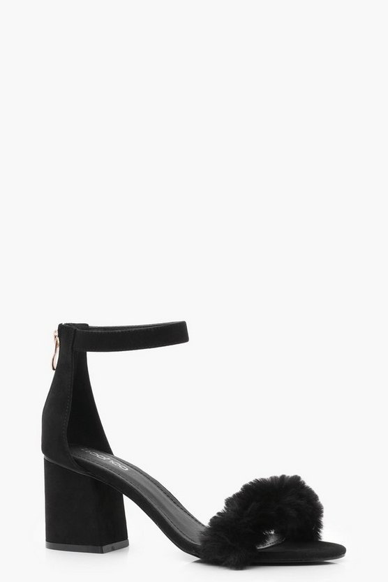 Naomi Faux Fur Band Block Heels