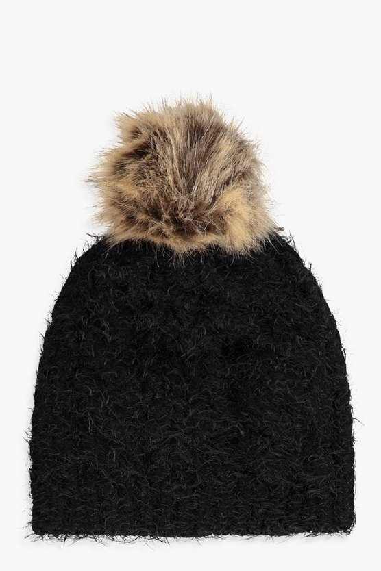 Ruby Eyelash Faux Fur Pom Beanie
