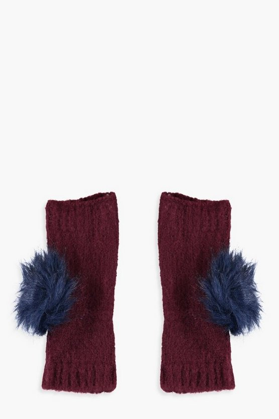 Harriet Faux Fur Pom Hand Warmer Gloves